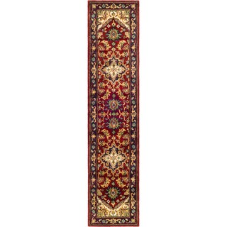 Safavieh Handmade Heritage Traditional Heriz Red/ Navy Wool Rug - 2'3 x 6'
