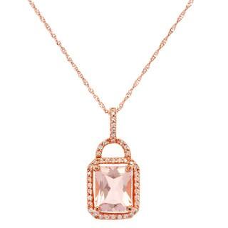 14k Rose Gold Pink Morganite 1/5ct TDW White Diamond Rope Pendant Necklace (G-H, SI-1)