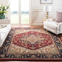 Safavieh Handmade Heritage Traditional Heriz Red/ Navy Wool Rug - 8' x 8' Square