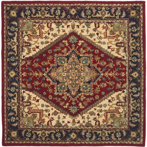 Safavieh Handmade Heritage Traditional Heriz Red/ Navy Wool Rug (8' Square)