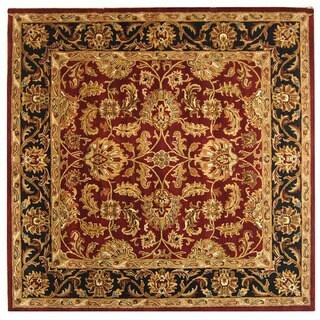 Safavieh Handmade Heritage Traditional Kashan Burgundy/ Black Wool Rug (10' Square)
