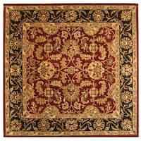 Safavieh Handmade Heritage Traditional Kashan Burgundy/ Black Wool Rug - 10' x 10' square