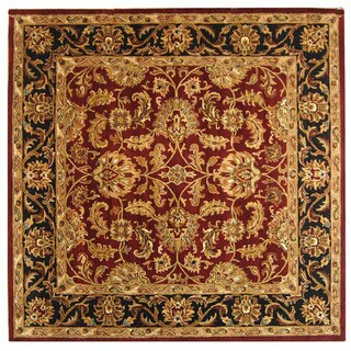 Safavieh Handmade Heritage Traditional Kashan Burgundy/ Black Wool Rug (10' Square)