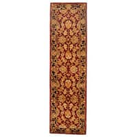 Safavieh Handmade Heritage Traditional Kashan Burgundy/ Black Wool Rug - 2'3 x 18'