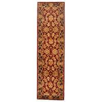 Safavieh Handmade Heritage Traditional Kashan Burgundy/ Black Wool Rug (2'3 x 22')