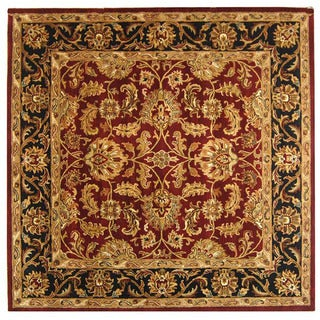 Safavieh Handmade Heritage Traditional Kashan Burgundy/ Black Wool Rug (4' Square)