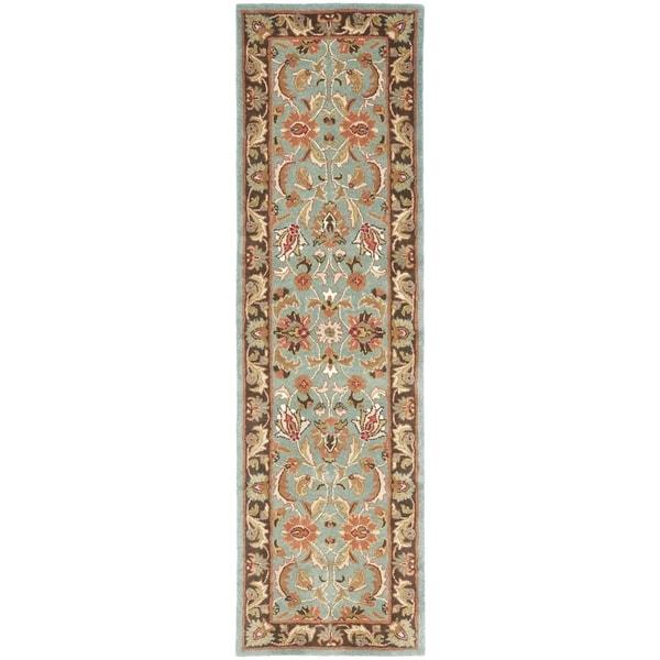Safavieh Handmade Heritage Timeless Traditional Blue/ Brown Wool Rug (2'3 x 6')