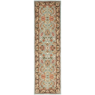 Safavieh Handmade Heritage Timeless Traditional Blue/ Brown Wool Rug (2'3 x 6')