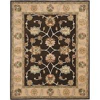 Safavieh Handmade Heritage Timeless Traditional Black/ Beige Wool Rug - 7'6 x 9'6