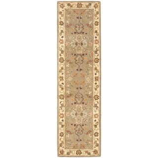 Safavieh Handmade Heritage Traditional Oushak Light Green/ Beige Wool Rug (2'3 x 22')