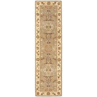 Safavieh Handmade Heritage Traditional Oushak Light Green/ Beige Wool Rug (2'3 x 6')