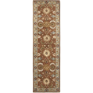 Safavieh Handmade Heritage Timeless Traditional Brown/ Blue Wool Rug (2'3 x 16')