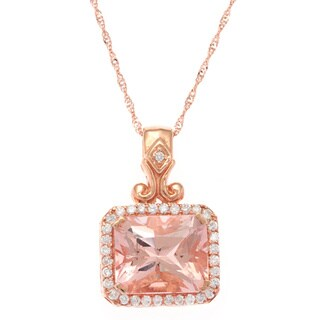 14k Rose Gold Morganite 1/3ct TDW White Diamonds Pendant Necklace (G-H, SI-1)