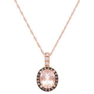 14k Rose Gold Morganite 1/5ct TDW Brown and White Diamond Pendant Necklace (G-H, SI-1)