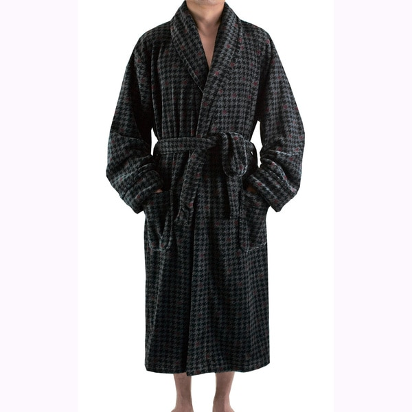 Leisureland Men's Charcoal Houndstooth Plush Fleece Robe (One size)