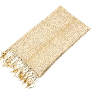 Leisureland Women's Gold Zebra Pattern Fringe Scarf