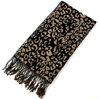 Leisureland Women's Black Leopard Pattern Fringe Scarf