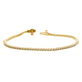 Auriya 14k White or Yellow Gold 3ct TDW Diamond Tennis Bracelet