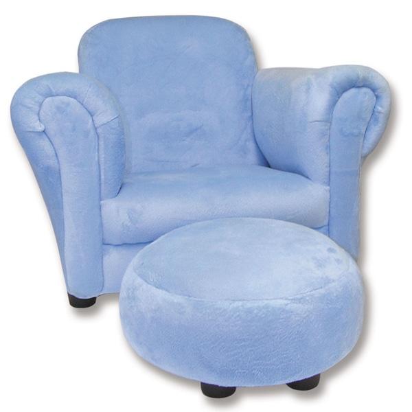 Trend Lab Blue Velour Children's Club Chair and Ottoman Set