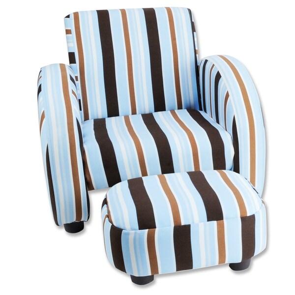 Trend Lab Mod Stripe Children's Twill Chair and Ottoman