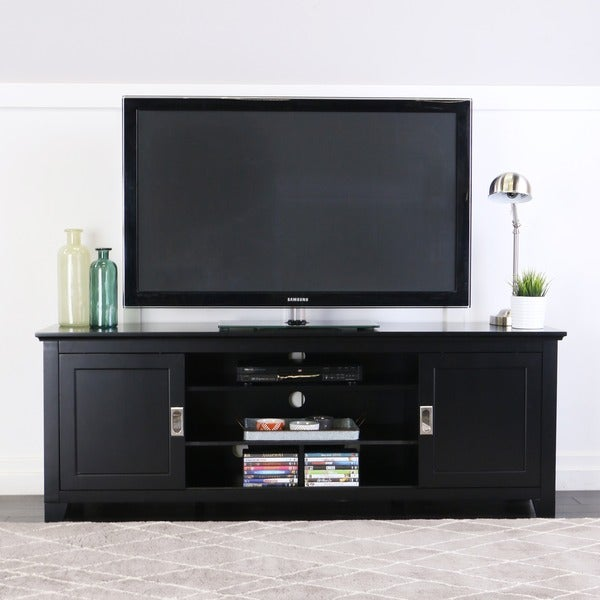 Black Wood 70inch TV Stand with Sliding Doors Free Shipping Today