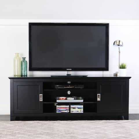 "70"" TV Stand Console with Sliding Doors - Black - 70 x 18 x 25h"