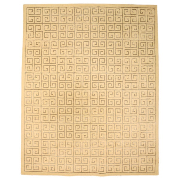 Hand-tufted Wool Ivory Transitional Abstract Ivory Ethos Rug