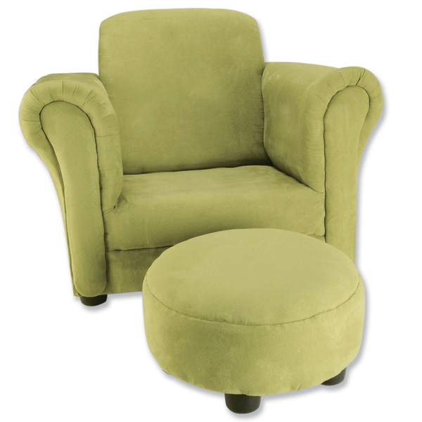 Trend Lab Avocado Green Ultrasuede Club Chair And Ottoman