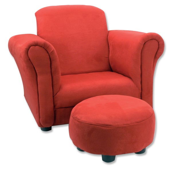 Trend Lab Red Ultra-Suede Children's Club Chair and Ottoman