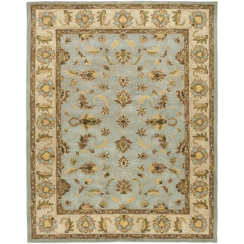Safavieh Handmade Heritage Timeless Traditional Light Blue/ Beige Wool Rug - 12' x 15'