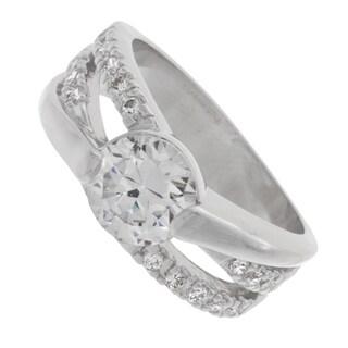 NEXTE Jewelry Silvertone Cubic Zirconia Sash Ring