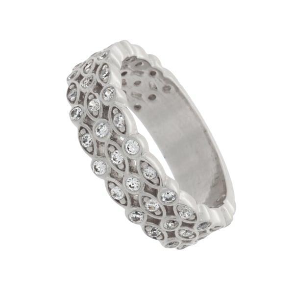 NEXTE Jewelry Silvertone Cubic Zirconia Three-quarter Eternity Band