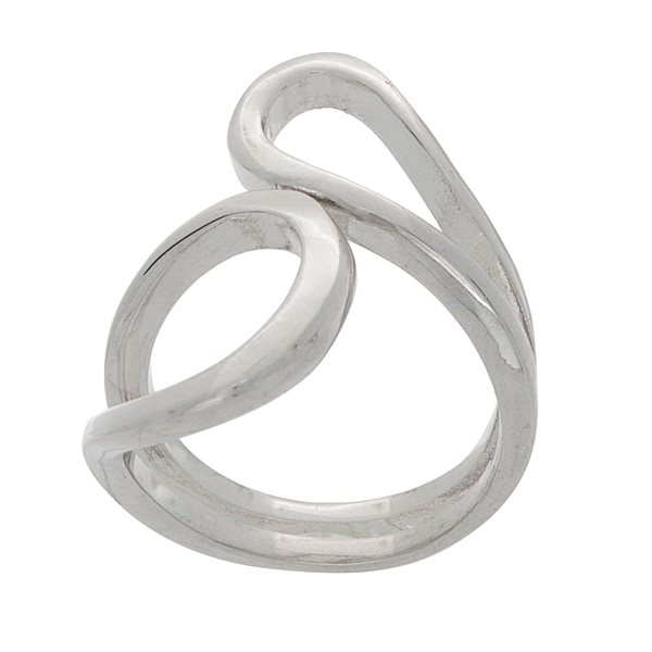 NEXTE Jewelry Silvertone Abstract Linear Swirl Ring