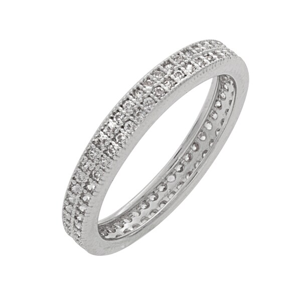 NEXTE Jewelry Silvertone Pave Cubic Zirconia 2-row Eternity Band