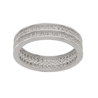 NEXTE Jewelry Silvertone Cubic Zirconia 2-row Railed Eternity Band