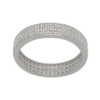NEXTE Jewelry Silvertone Pave Cubic Zirconia 3-row Eternity Band