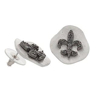 NEXTE Jewelry Silvertone Black Cubic Zirconia Fleur de Lis Stud Earrings