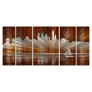 Ash Carl 'Warm Philadelphia Skyline' Metal Wall Art