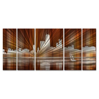 Ash Carl 'Warm Chicago Skyline' Metal Wall Art