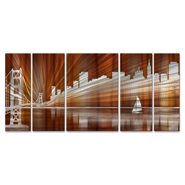 Ash Carl u0027Warm San Francisco Skylineu0027 Metal Wall Art