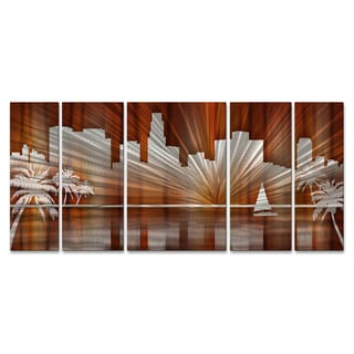 Ash Carl 'Warm Los Angeles Skyline' Metal Wall Art