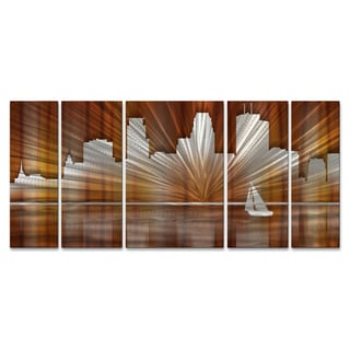 Ash Carl 'Warm Minneapolis Skyline' Metal Wall Art
