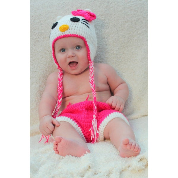 Sugarbaby Kitty Kitty Crocheted Beanie and Diaper Set