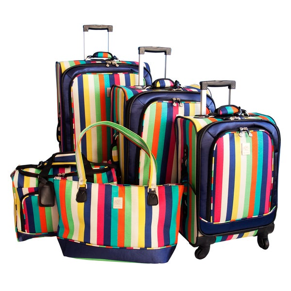 Jenni Chan Multi Stripes 5-piece Spinner Luggage Set