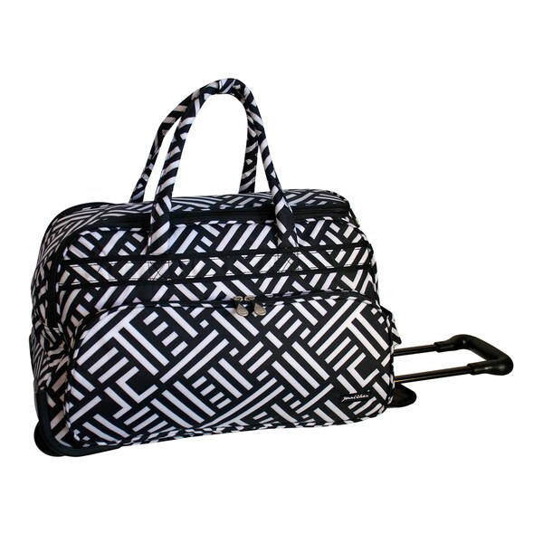 Jenni Chan Signature Black White 20-inch Soft Carry On Upright Duffel Bag