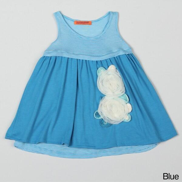Funkyberry Girl's Sleeveless Flower Applique Dress