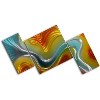 'Geometric colored ripples' 3-piece Contemporary Art Set