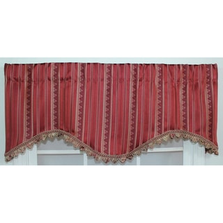 Stripe Fire Red Cornice Valance
