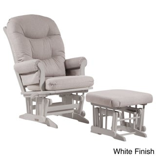 Dutailier Light Grey Multiposition Reclining Sleigh Glider and Ottoman Set (2 options available)