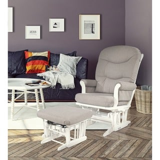 Dutailier Light Grey Microfiber Fabric and Finished Wood Upholstered Multiposition Reclining Sleigh Glider and Ottoman Set